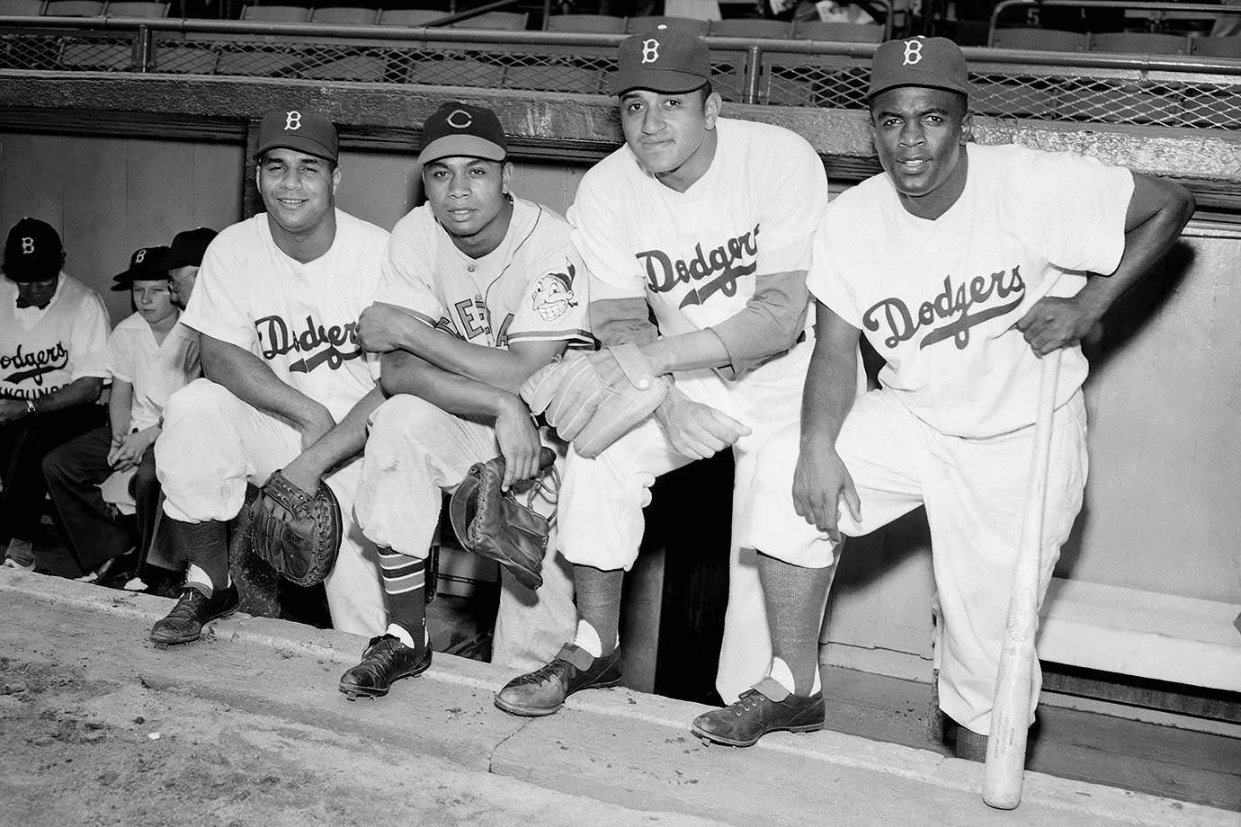 Roy Campanella, Larry Doby, Don Newcombe and Jackie Robinson pose together during the 16th annual All-Star Game, which took place at Ebbetts Field in Brooklyn, N.Y., on July 12, 1949. It was the first All-Star Game to feature black players.