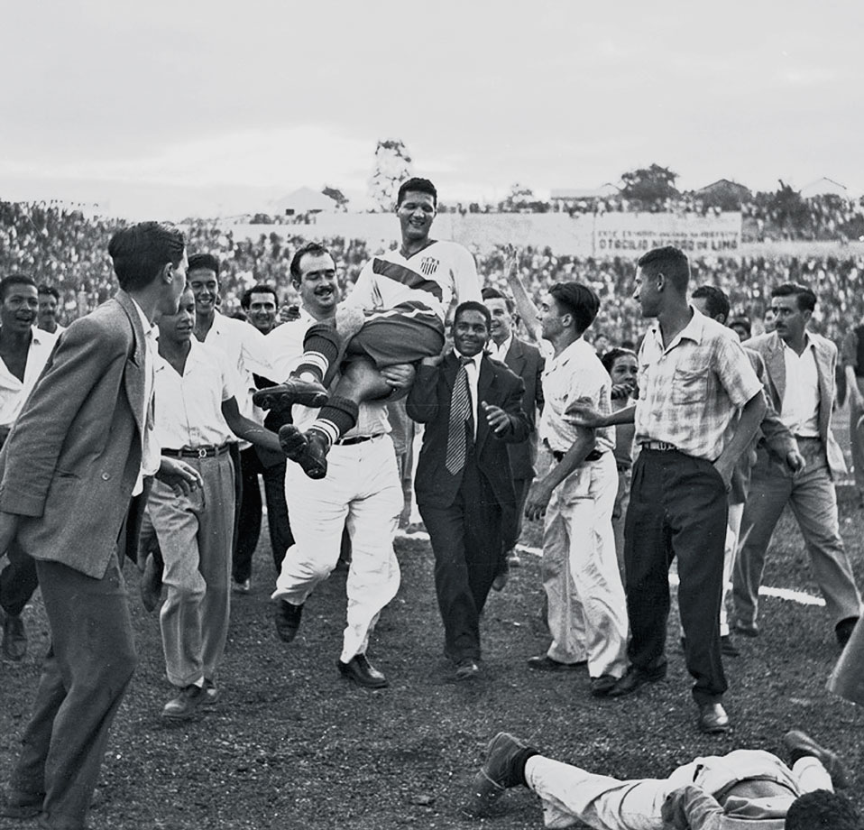 Joe Gaetjans celebrates as the U.S. defeats England 1-0 in perhaps the most significant soccer game in U.S. history and still considered, even 60 years later, one of soccer's greatest upsets.