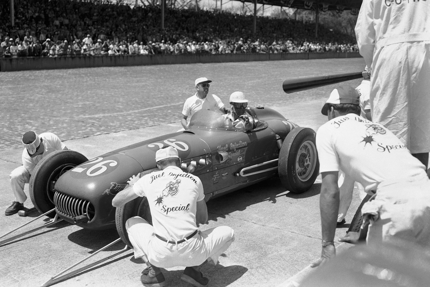 The chassis were different, but the engines remained the same. Troy Ruttman and Rodger Ward pitted a 1952 Kuzma and a '59 Watson, respectively, to tune up their Offys, while Sam Hanks, behind the wheel of a Salih in '57, safely revved his around a retaining all. Another thing they all had in common: They won their races.