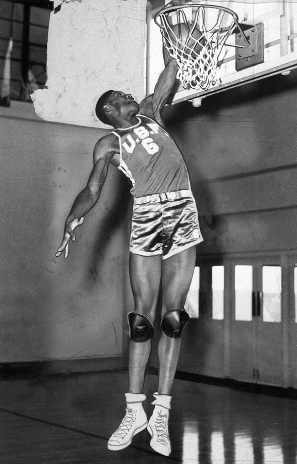 The 6-foot-9 center dunks the ball with ease, showing the athleticism that enabled him to dominate the game. Bill Russell was extremely raw when he arrived at San Francisco, and while he worked on developing his offensive fundamentals, he relied on his dunking and defense to get by.