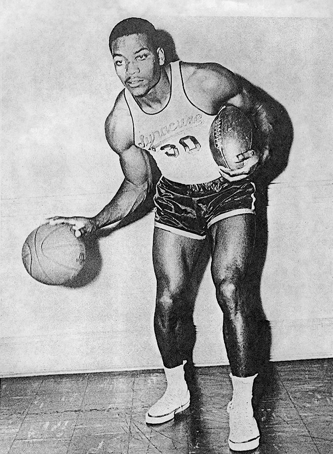 A four-sport athlete for Syracuse, Jim Brown starred in football for three seasons, was the second leading scorer on the basketball team, ran track and was named a first-team All-America in lacrosse.