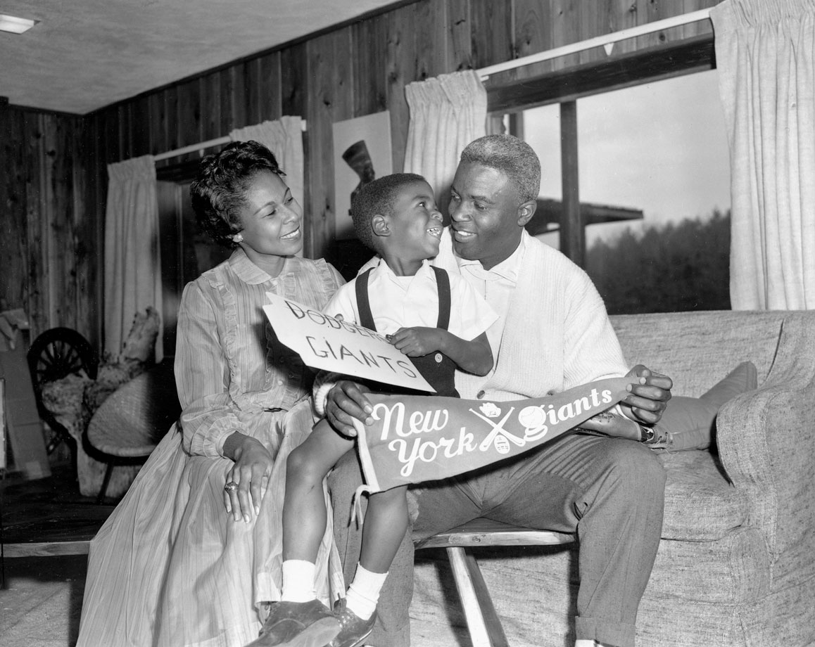 Jackie Robinson with wife, Rachel, and their son David at their home in Stamford, Conn., on Dec. 13, 1956, the day Robinson was traded from the Dodgers to the rival New York Giants. Robinson refused to report to the Giants and retired instead.