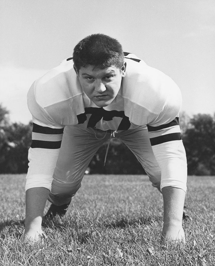 Alex Karras of the University of Iowa Hawkeyes poses circa 1956.