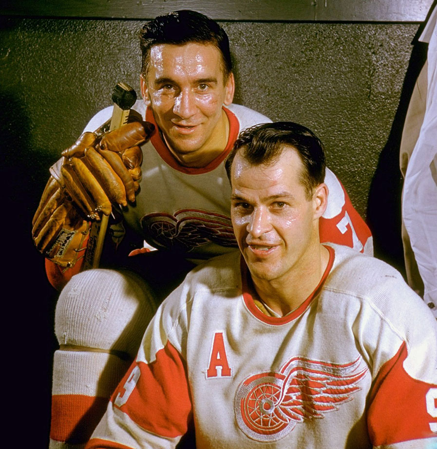 "Gordie Howe poses for a portrait with Red Wings teammate Ted Lindsay in the locker room at Olympia Stadium in Detroit. Howe, Lindsay and Sid Abel were known as ""The Production Line"" and the trio finished first, second an third in scoring during the 1949-50 season."