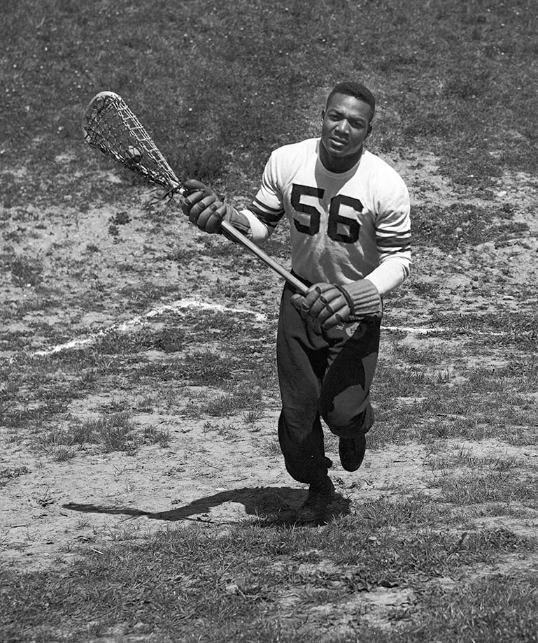 A great collegiate lacrosse player, Jim Brown was a second-team All-America his junior year and a first-team All-America his senior year, when he scored 43 goals in 10 games, the second most in the nation.