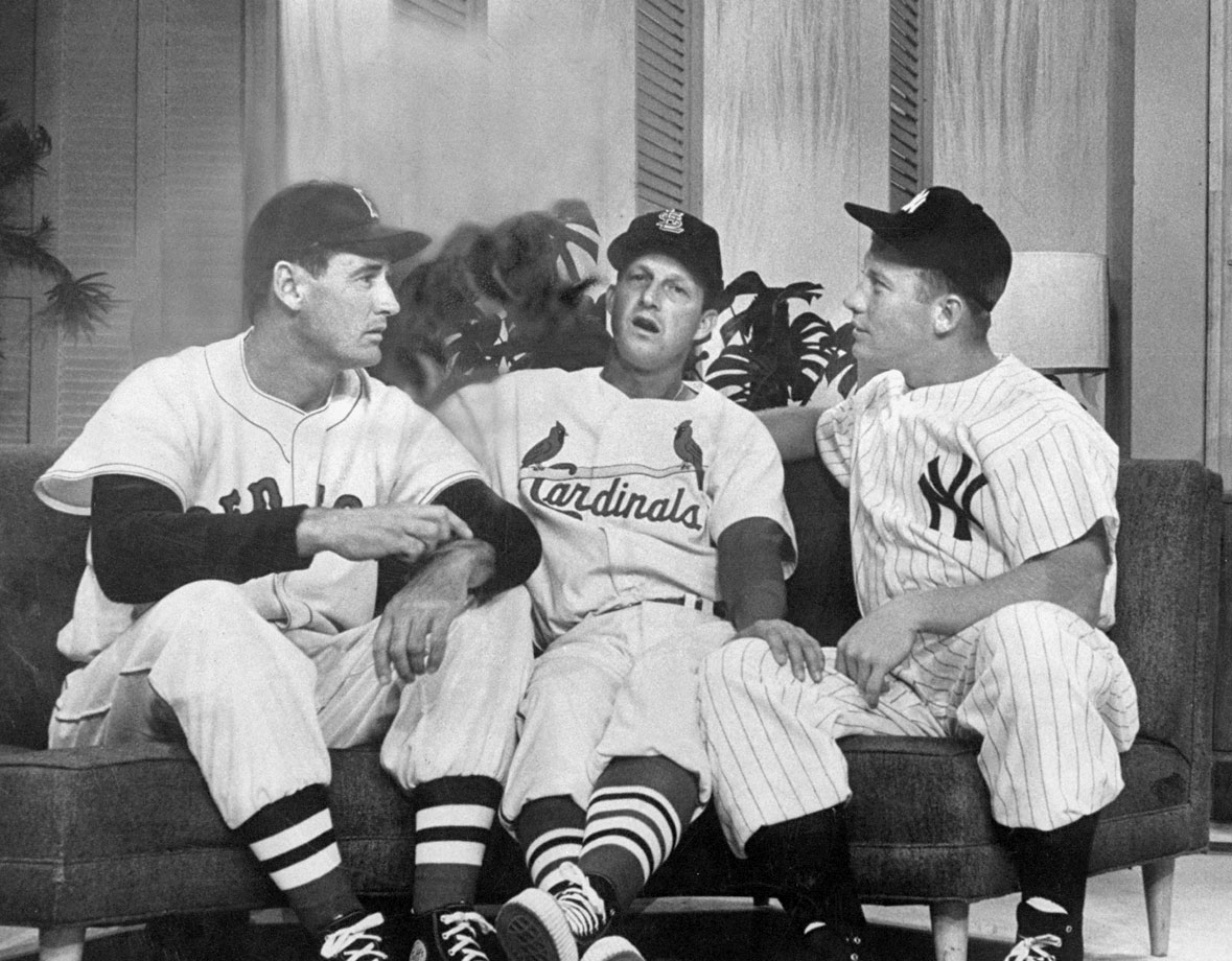 Ted Williams, Stan Musial and Mickey Mantle appear on TV Salute to Baseball in 1957.
