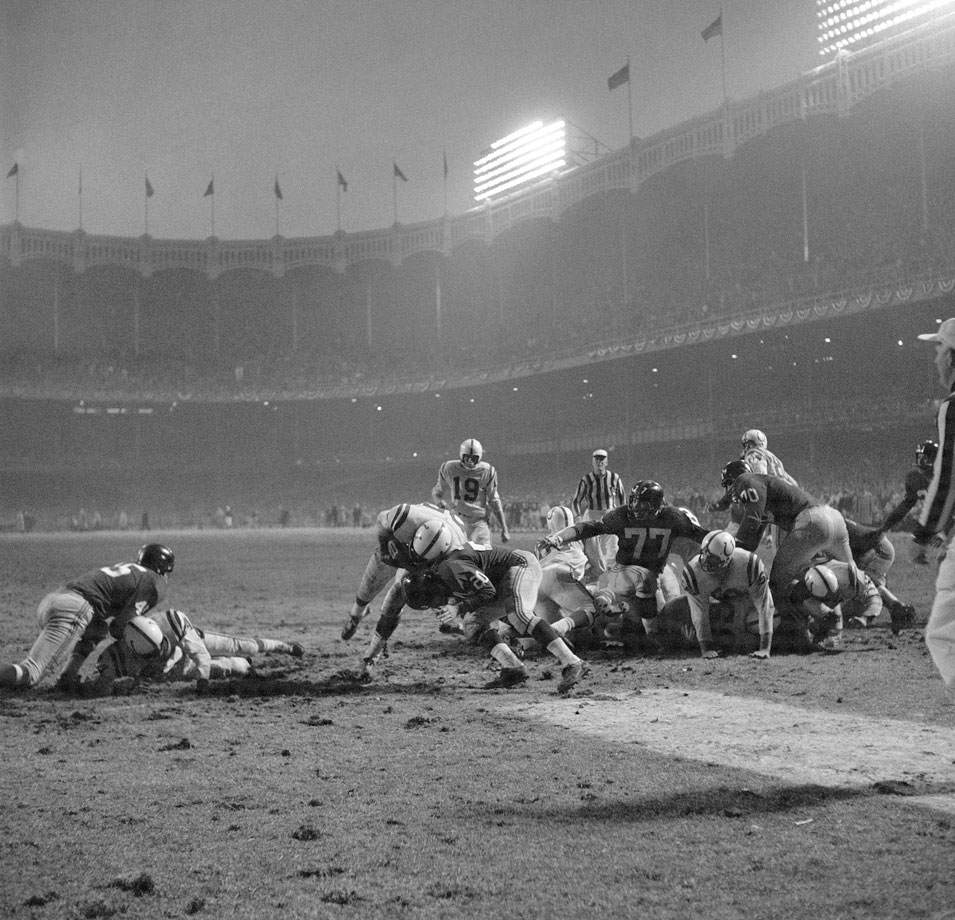 Colts back Alan Ameche scored the winning touchdown against the Giants in the NFL Championship, labeled ''The Greatest Game Ever Played.''