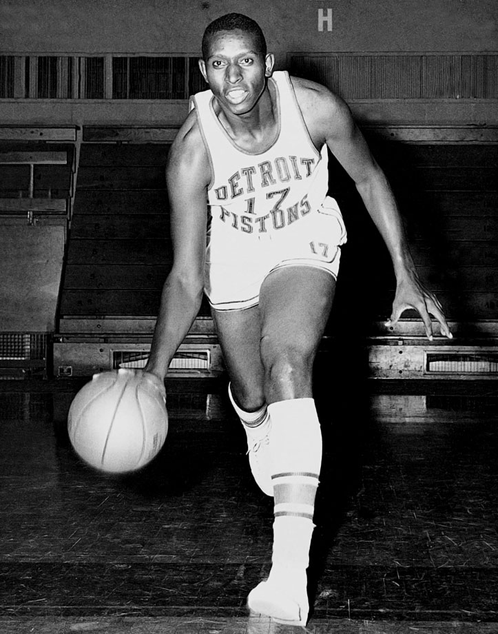 Earl Lloyd of the Detroit Pistons poses for a portrait in 1959. Lloyd played two seasons with the Pistons before retiring in 1960.