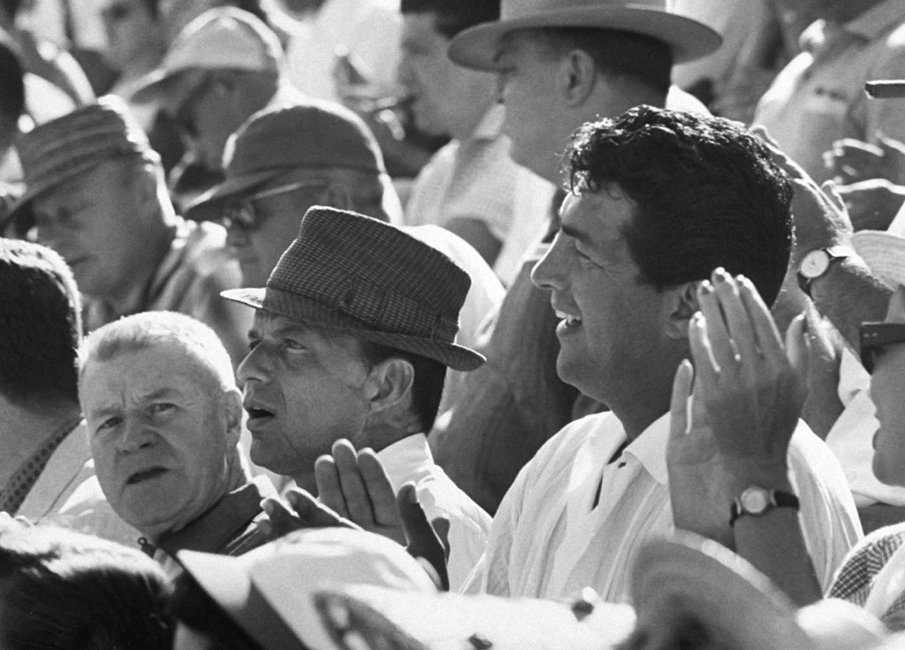 Frank Sinatra and Dean Martin attend Game 3 of the World Series between the Los Angeles Dodgers and Chicago White Sox at Los Angeles Memorial Coliseum on Oct. 4, 1959.