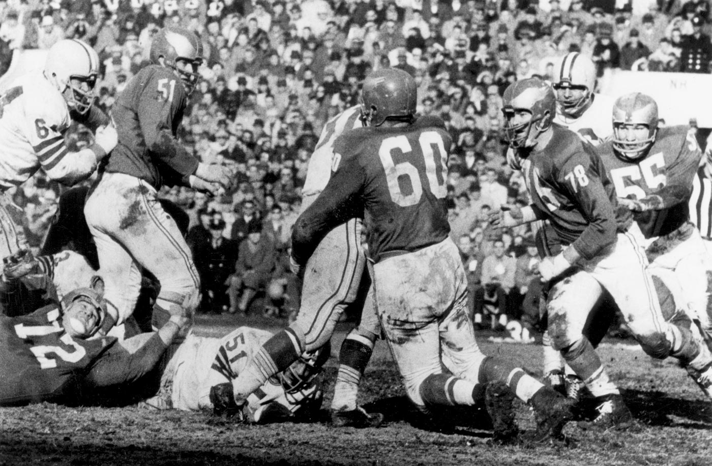 Vince Lombardi suffered his only playoff defeat thanks to brutish linebacker Chuck Bednarik, who tackled Green Bay fullback Jim Taylor at the 10-yard line with seconds remaining and held him down until the clock ran out.