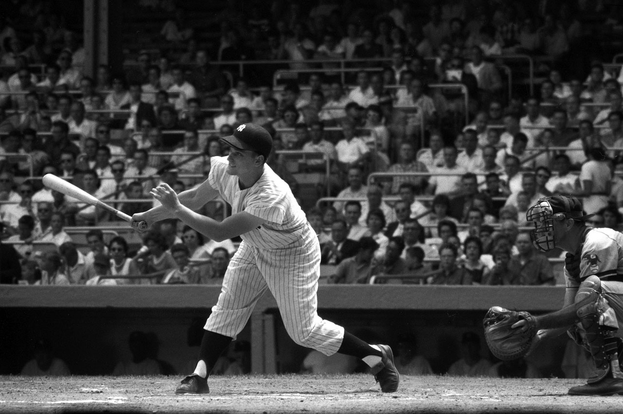Roger Maris bats against the Kansas City Athletics at Yankee Stadium on July 31, 1960.