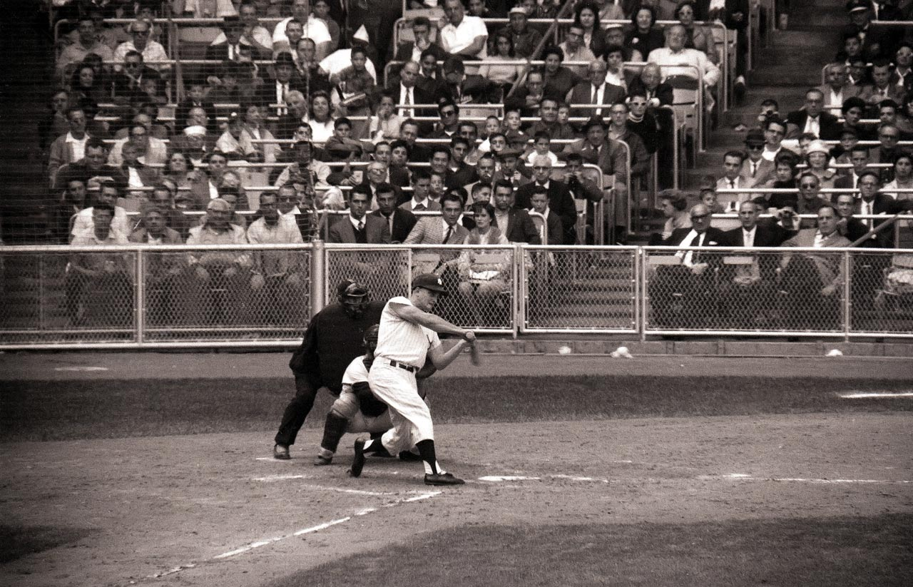 Roger Maris hits his 61st home run in the fourth inning of the last game of the season against the Boston Red Sox at Yankee Stadium on Oct. 1, 1961.