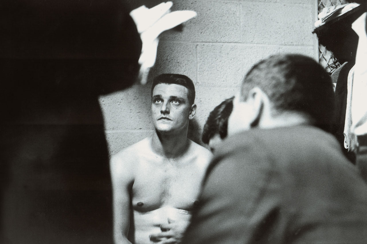 Roger Maris talks to reporters after the Yankees clinched the AL pennant with a win over the Orioles at Memorial Stadium in Baltimore on Sept. 20, 1961. Maris hit his 59th season home run in the game.