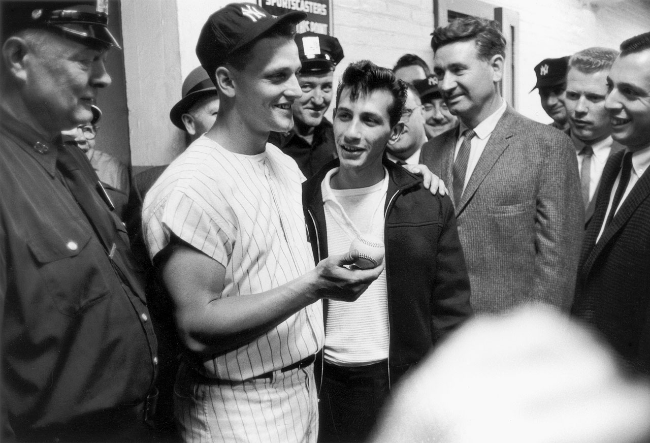 Roger Maris poses with Sal Durante, the young fan who caught Maris' 61st home run ball at Yankee Stadium on Oct. 1, 1961.