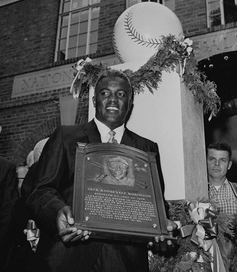 Jackie Robinson becomes the first black player inducted into baseball's Hall of Fame on July 23, 1962. He was inducted in his first year of eligibility.