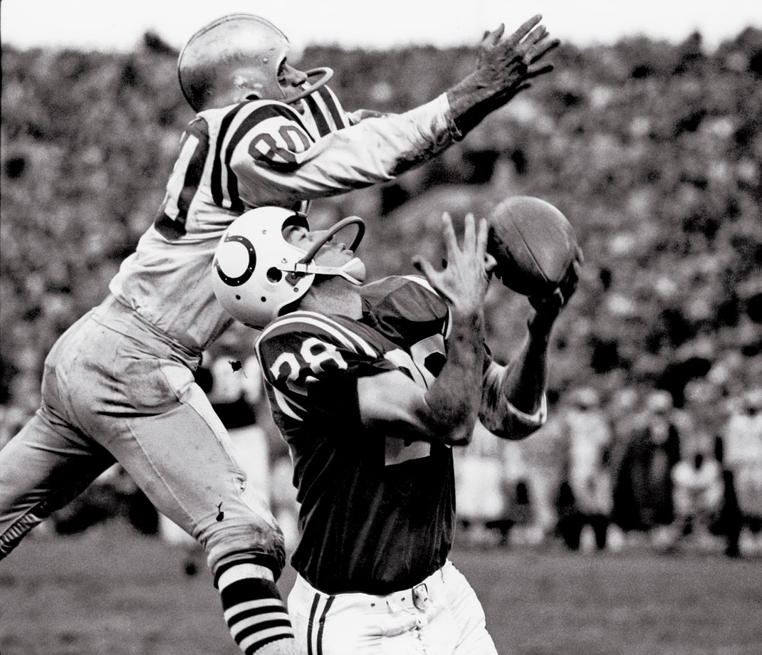 The Colts' Jimmy Orr beats tight coverage for a touchdown catch against the 49ers.