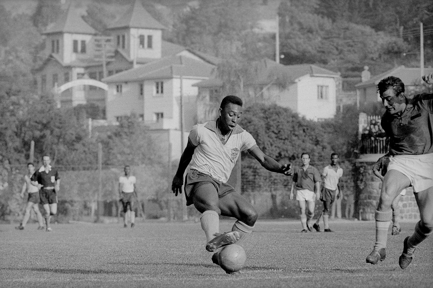 Pelé impresses opponents with his moves while training for the 1962 World Cup. The tournament itself would be a disappointment, as he injured himself during Brazil's showdown with Czechoslovakia.