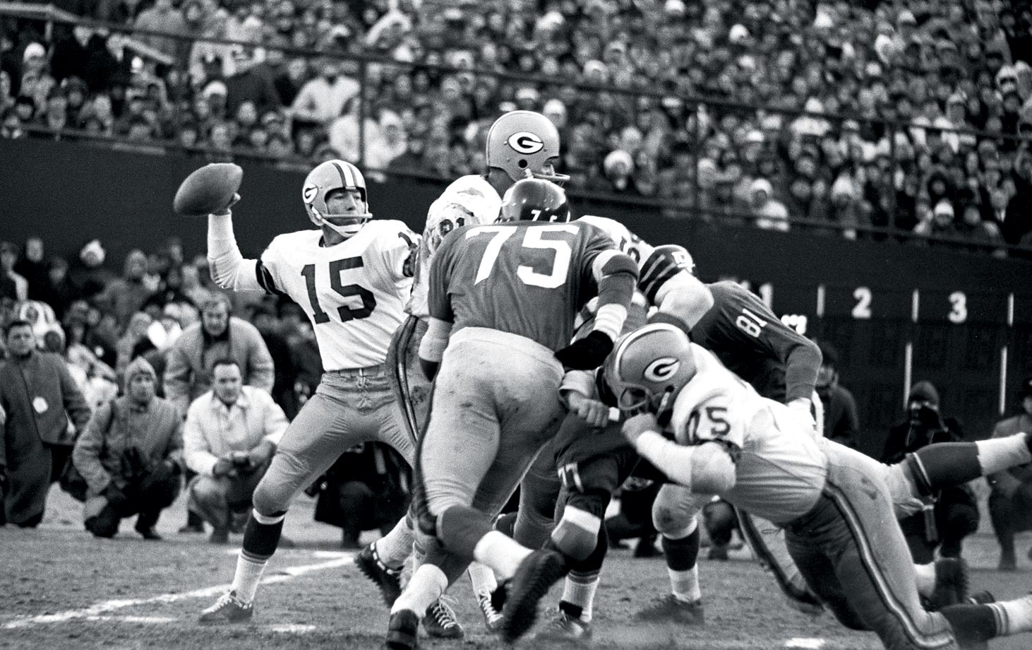 Before joining the Packers, Bart Starr played his college ball at Alabama, and it was the Crimson Tide's basketball coach, Johnny Dee—a friend of Packers personnel director Jack Vainisi—who touted Starr as a pro prospect. The Packers saw a quarterback with tremendous potential and selected him in the 17th round of the 1956 NFL Draft with the 200th pick. (Text credit: Shannon Carroll)