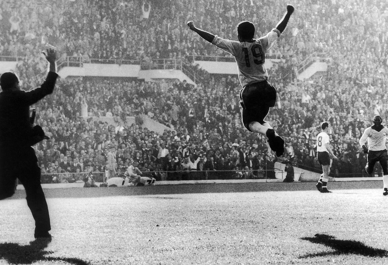 Vava celebrates his goal that helped seal Brazil's victory in the 1962 World Cup final for its second consecutive World Cup title. The Brazilians defeated Czechoslovakia 3-1.