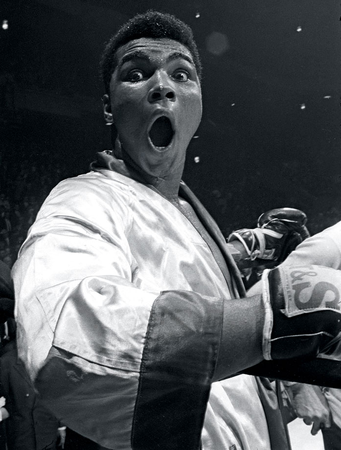 Undefeated in his first 17 pro fights, Ali (then still Cassius Clay) mugged for Leifer's camera before the start of his 1963 bout against Doug Jones in Madison Square Garden.