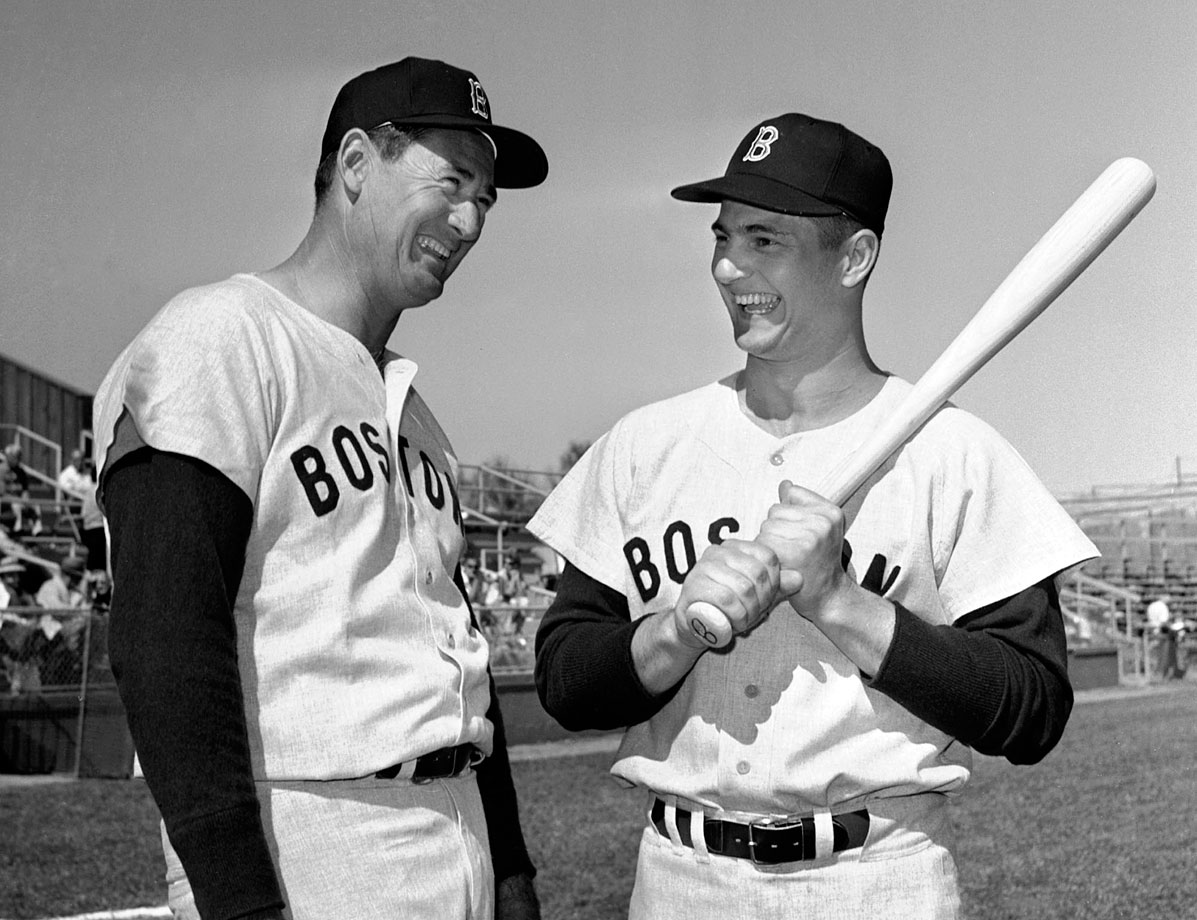 Now retired, Ted Williams and Carl Yastrzemski have a laugh at spring training, 1963.