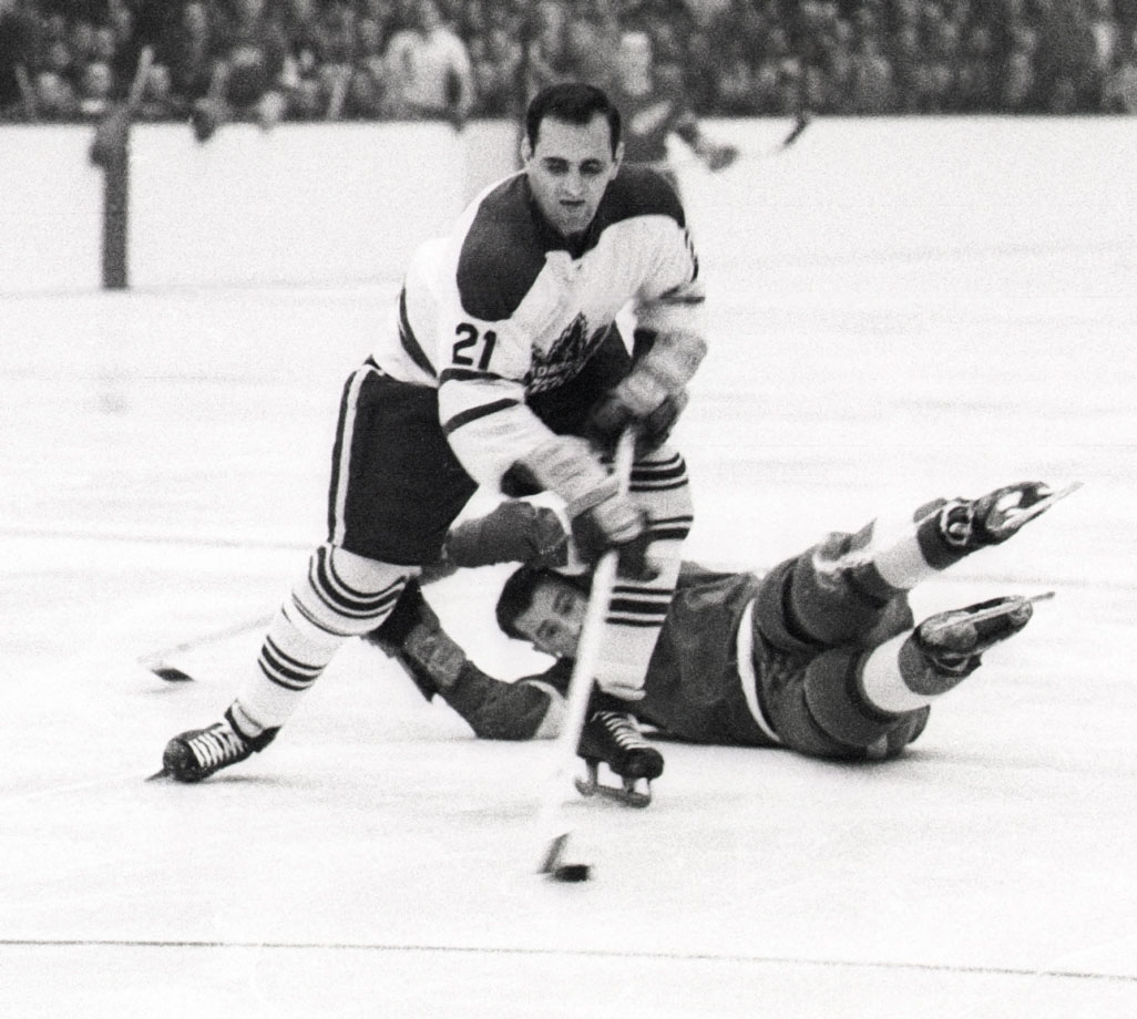 Toronto's Bob Baun, shown here in Game 3, skated his way into hockey immortality when a Gordie Howe slap shot broke his ankle in Game 6. Shaking off the injury, Baun returned in time to score the overtime winner against Detroit, sending the series to Game 7. He fought through the pain to play in that one as well, helping Toronto to a 4-0 win.