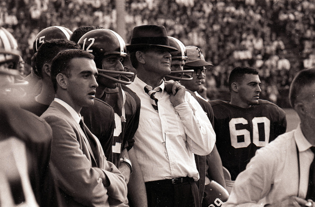 Alabama coach Paul Bear Bryant with QB Joe Namath (12).