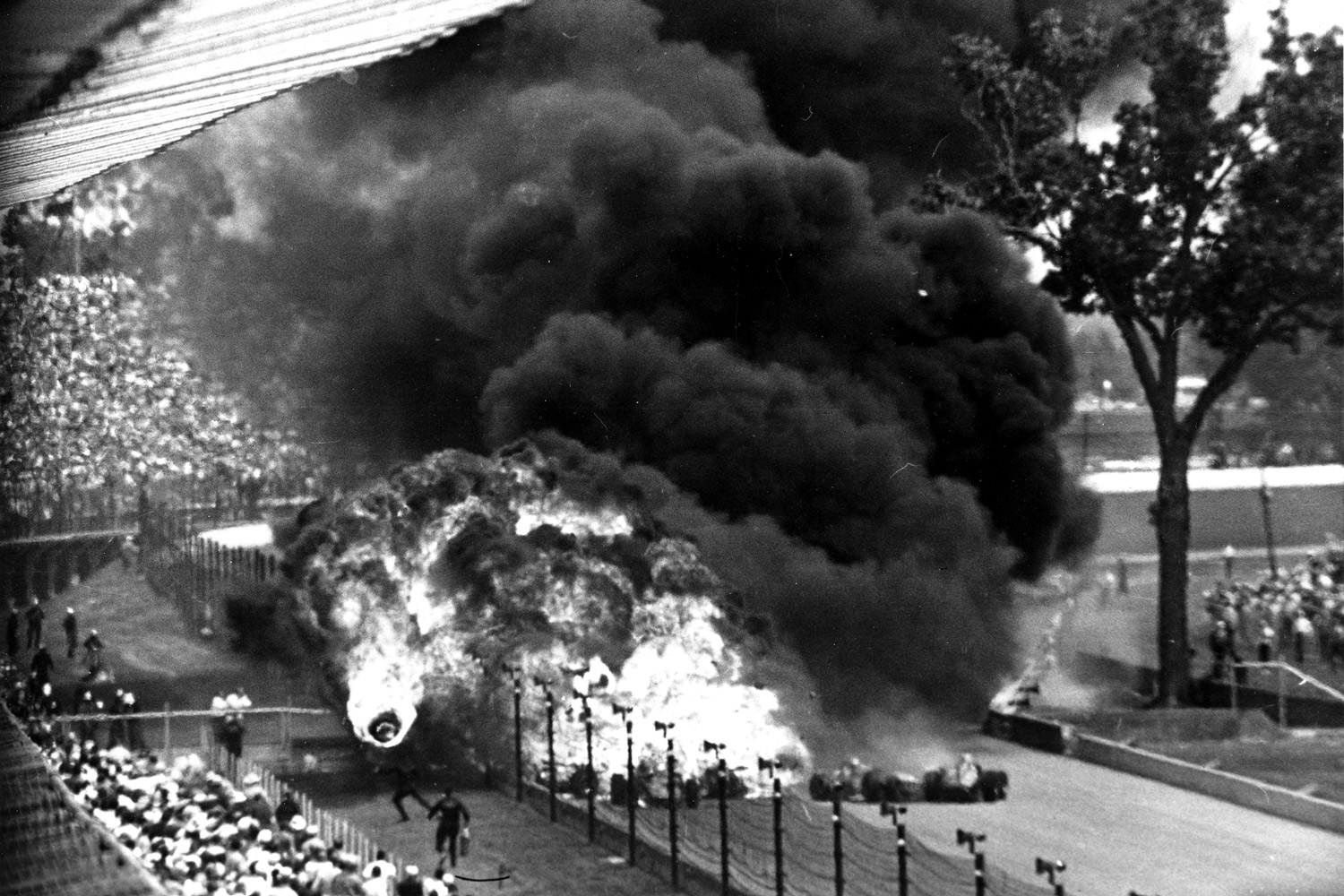 Black clouds of gloom hung over the Speedway after the deadly '64 crash, the first time the Indy 500 was halted for an accident. The second was two years later, when no one died, but rookie Jackie Stewart endured heartbreak; he led 40 laps before late mechanical failure ended his title hopes.