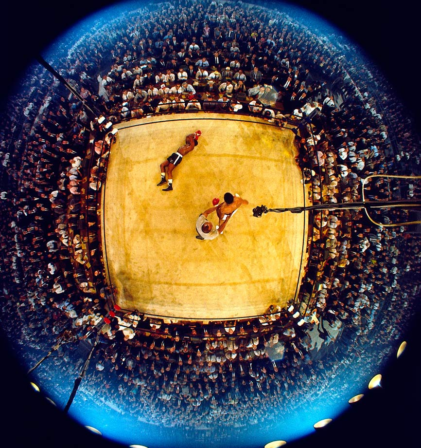 As Liston lingered on the canvas and the referee, former heavyweight champ Jersey Joe Walcott, tried to control Ali, the 2,434 spectators on hand in the Lewiston, Me., hockey arena — a record low for a heavyweight championship fight — tried to make sense of what all that had happened in less than two minutes after the opening bell.