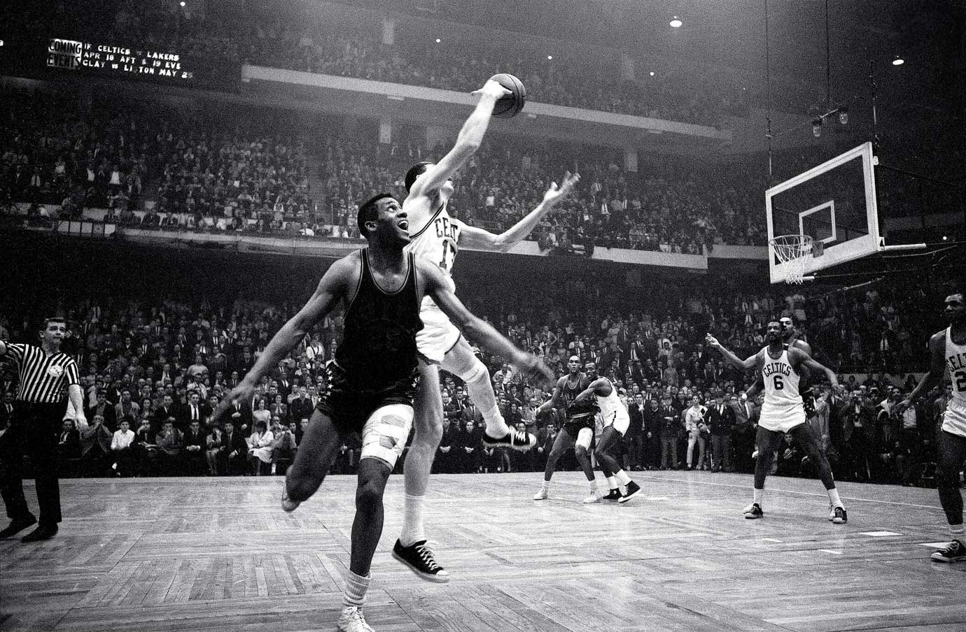 """Havlicek stole the ball!"" Celtics broadcaster Johnny Most's call describing the final seconds of Game 7 of the Eastern Division Finals is one of the most memorable in NBA history. Boston held on to a 110-109 victory over the Philadelphia 76ers after John Havlicek tipped Hal Greer's inbounds pass, intended for Chet Walker, toward teammate Sam Jones. The Celtics would go on to win their seventh consecutive NBA title, defeating the Lakers in five games."