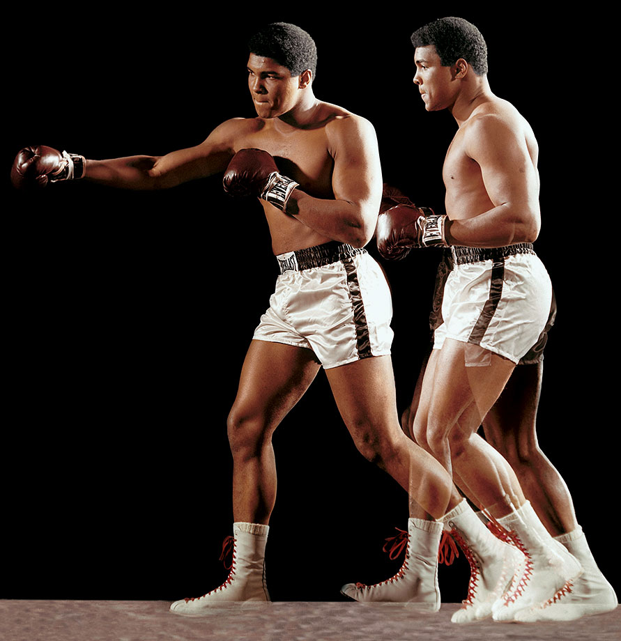 In a multiple-exposure portrait, Ali demonstrates his signature double-clutch shuffle during a photo shoot in December 1966.
