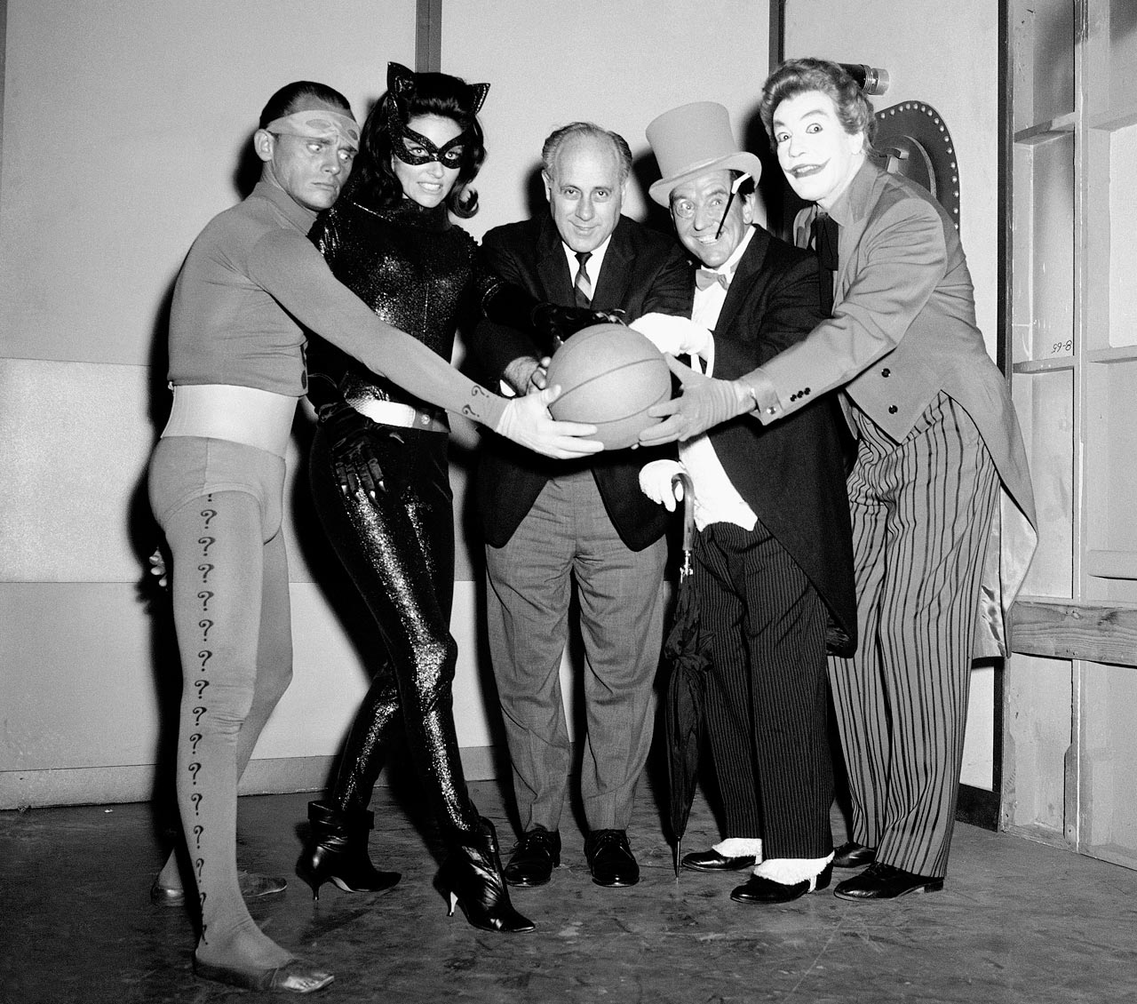 with Frank Gorshin (The Riddler), Lee Meriwether (Catwoman), Burgess Meredith (The Penguin) and Cesar Romero (The Joker).