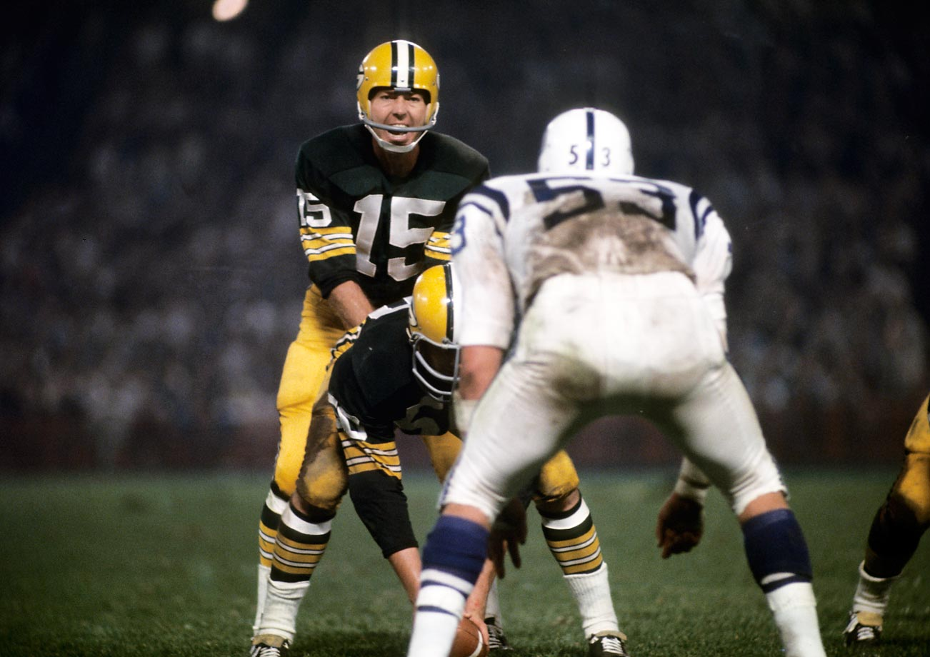 When Bart Starr won his first Super Bowl, his salary was equivalent to a little more than $700,000, much less than the millions today's top quarterbacks make. (Text credit: Shannon Carroll)