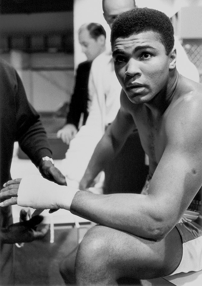 Ali sits in the locker room before his February 1967 fight against Ernie Terrell. Like Patterson before him, Terrell refused to call the champion by his Muslim name. Also like Patterson, he paid a stiff price, as Ali punished Terrell for 15 ugly rounds before winning by unanimous decision.