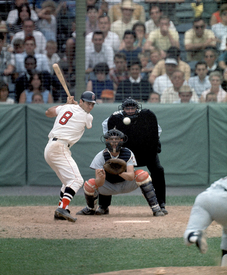 Carl Yastrzemski bats against the California Angels on July 26, 1967 at Fenway Park in Boston.