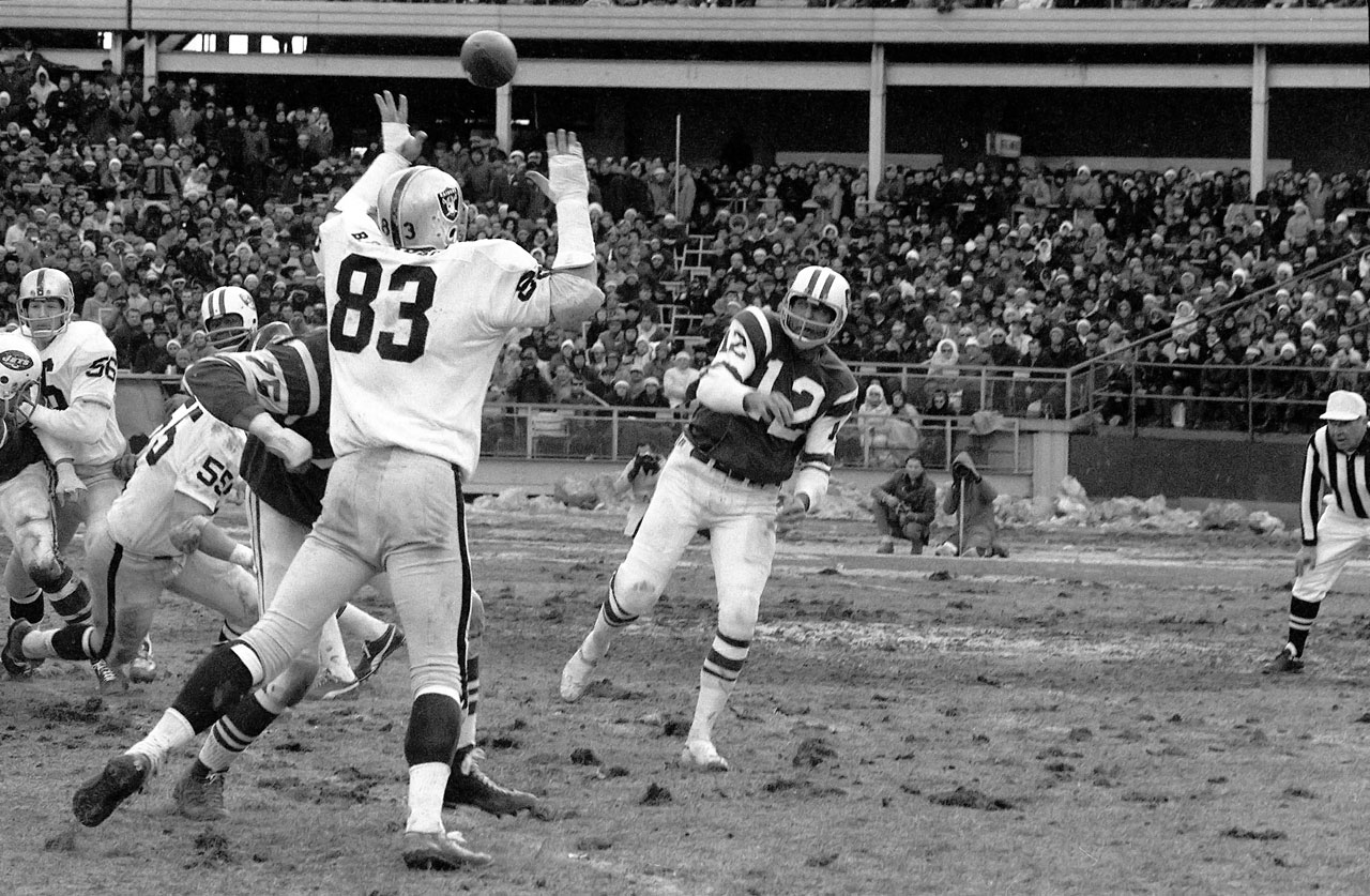 "Joe Willie Namath's finest moment may never have happened if not for a gutsy performance after a self-inflicted night on the town, and a heads-up play by the Jets defense. Namath—according to urban legend—tied one on but good the night before the AFL championship game. Namath fought through the hangover well enough to toss three touchdown passes. It still took a Ralph Baker recovery of an errant Darryl Lamonica backward pass for the Jets to seal it, which ultimately led to the ""guarantee"" and win over the Colts in Super Bowl III."