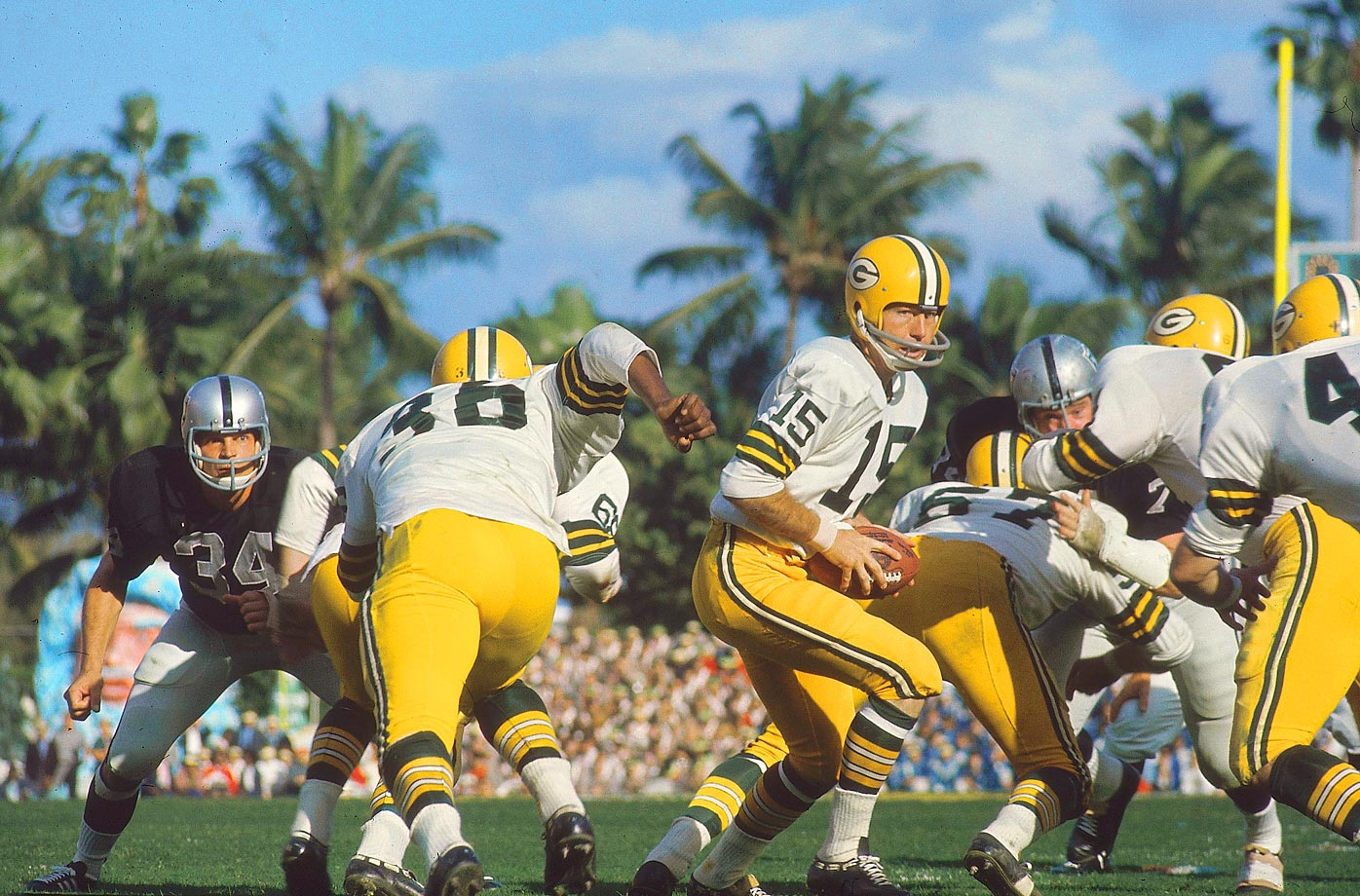Two weeks after defeating the Dallas Cowboys in the waning seconds of the Ice Bowl, Bart Starr and the Packers got past Oakland with ease in Super Bowl II, 33-14. Starr was again the MVP.