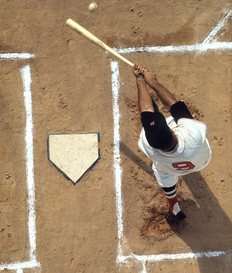 An aerial shot of Ted Williams at the plate during spring training in 1968.