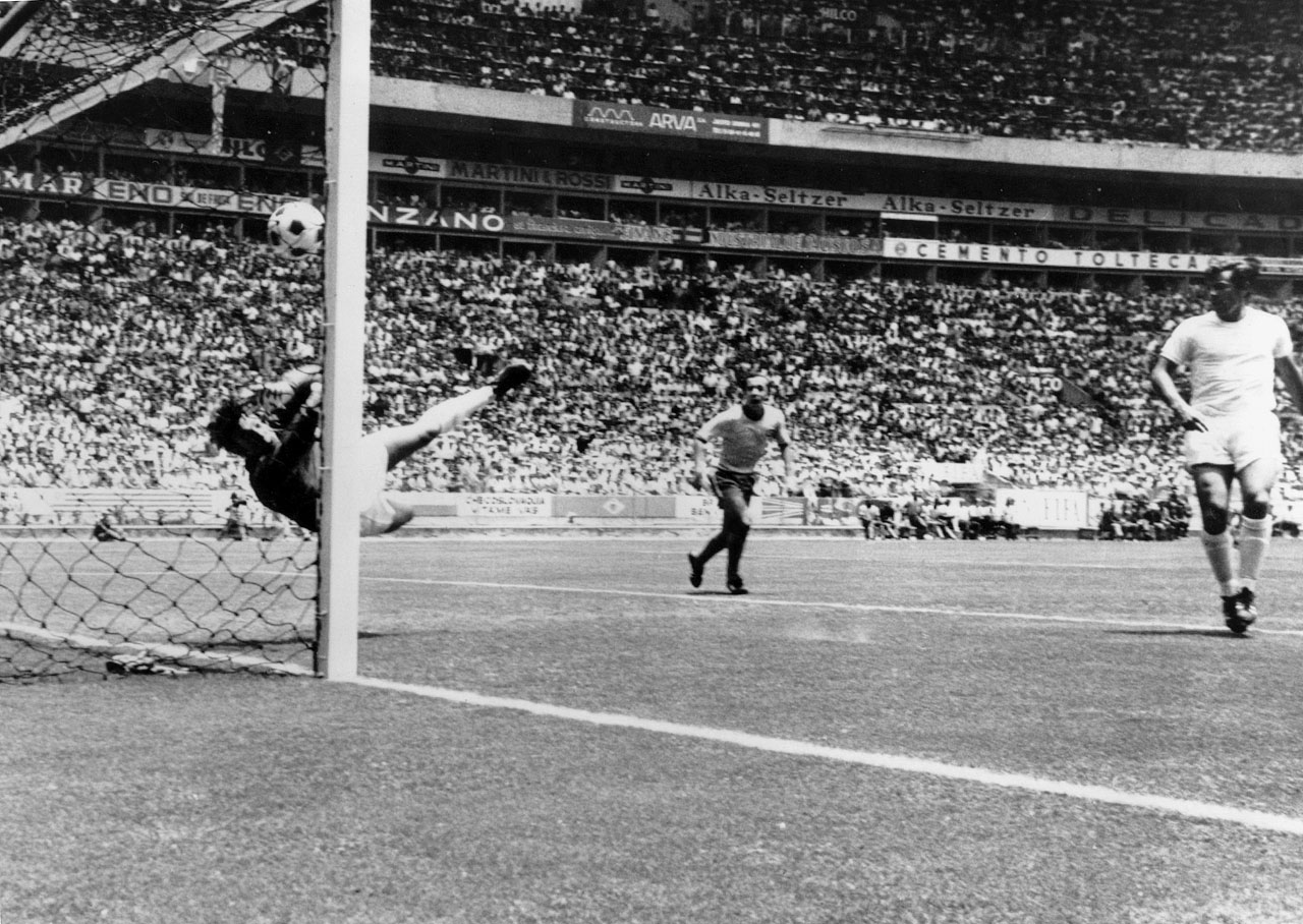Englishman Gordon Banks saves Pelé's header in a first round match of the 1970 World Cup, cementing his place in soccer lore forever as the goalie who made what is, perhaps, the greatest save ever.