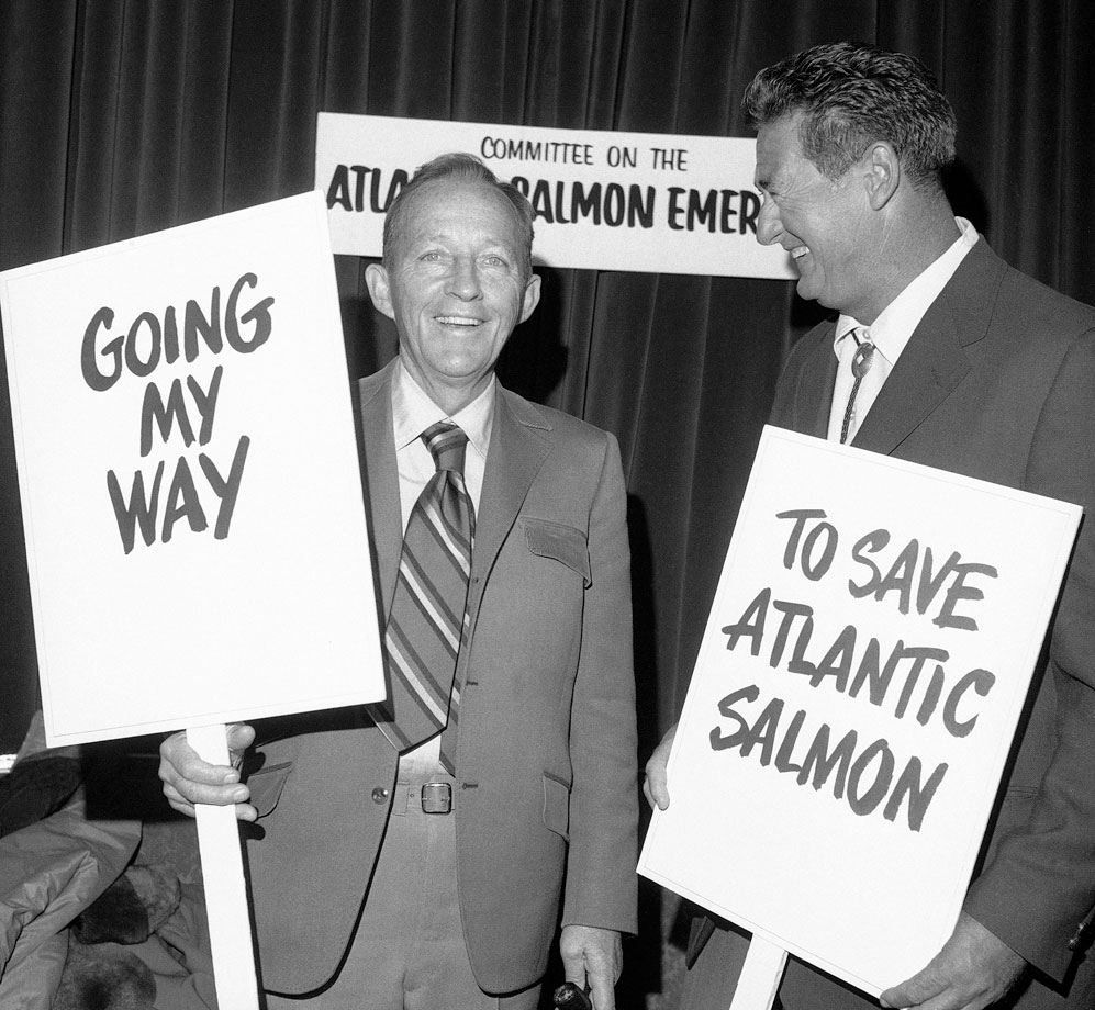 Bing Crosby and Ted Williams hold signs on behalf of saving the Atlantic salmon in 1971.