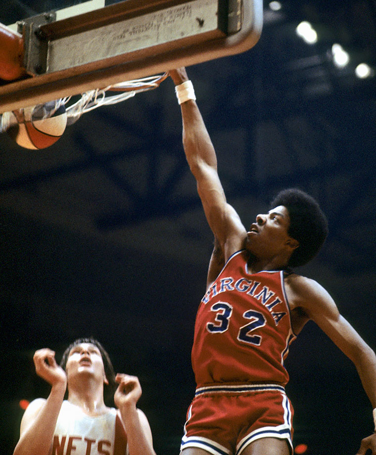 Dr. J began his professional career with the Virginia Squires of the ABA.