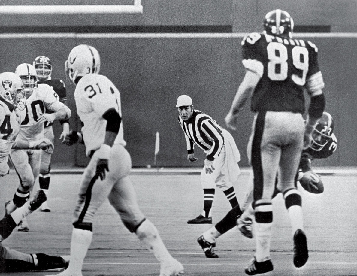 "With 22 seconds remaining and no timeouts, trailing by a point, Pittsburgh faced a fourth-and-10 at its 40-yard line. Terry Bradshaw, frantically avoiding the pass rush, fired a ball over the middle for John Fuqua, but Jack Tatum was there to break it up. Allegedly. Whether the Oakland safety deflected the ball was in dispute, but the rest of what happened was clear: Franco Harris grabbed the ball before it hit the turf and ran it in to give the Steelers an improbable victory via ""The Immaculate Reception."""