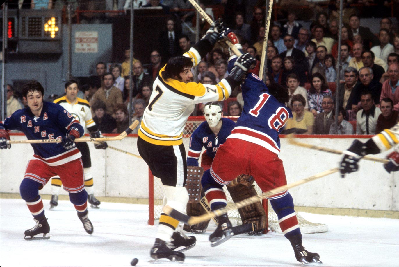 It's no wonder that Boston's Phil Esposito was targeted by New York Rangers checking forward Walt Tkaczuk during Game 1. The Bruins superstar was following up an Art Ross-winning campaign with a strong postseason that saw him tie for the league lead in goals (9 in 15 games) and points (24). The Bruins captured the opener, 6-5, and went on to win the series in six games.