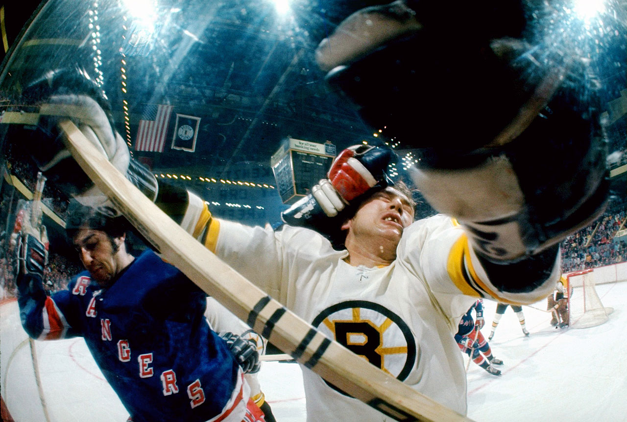 You have to be willing to take a hit to make a play in hockey, and Boston defenseman Don Awrey paid the price in Game 1, a wild 6-5 win by his Bruins.