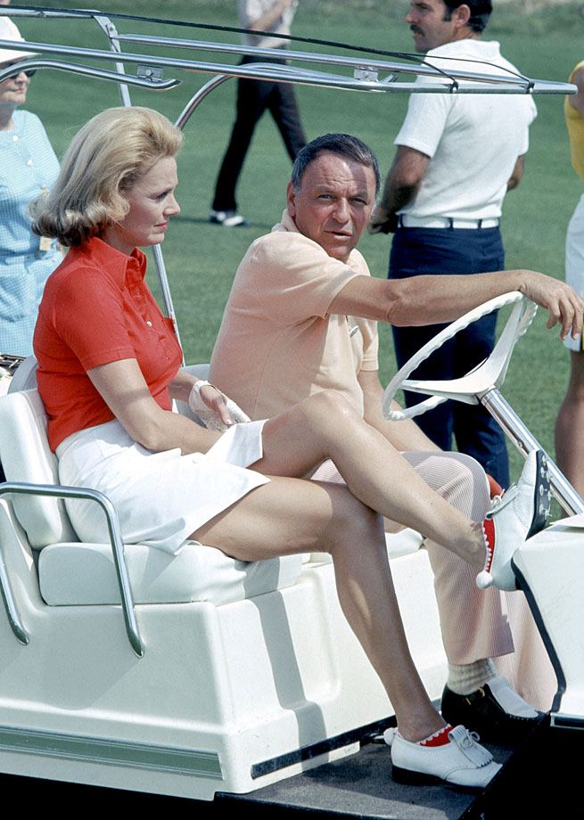 Frank Sinatra and Barbara Marx attend the Dinah Shore Golf Classic in Palm Springs, Calif., on April 10, 1973.