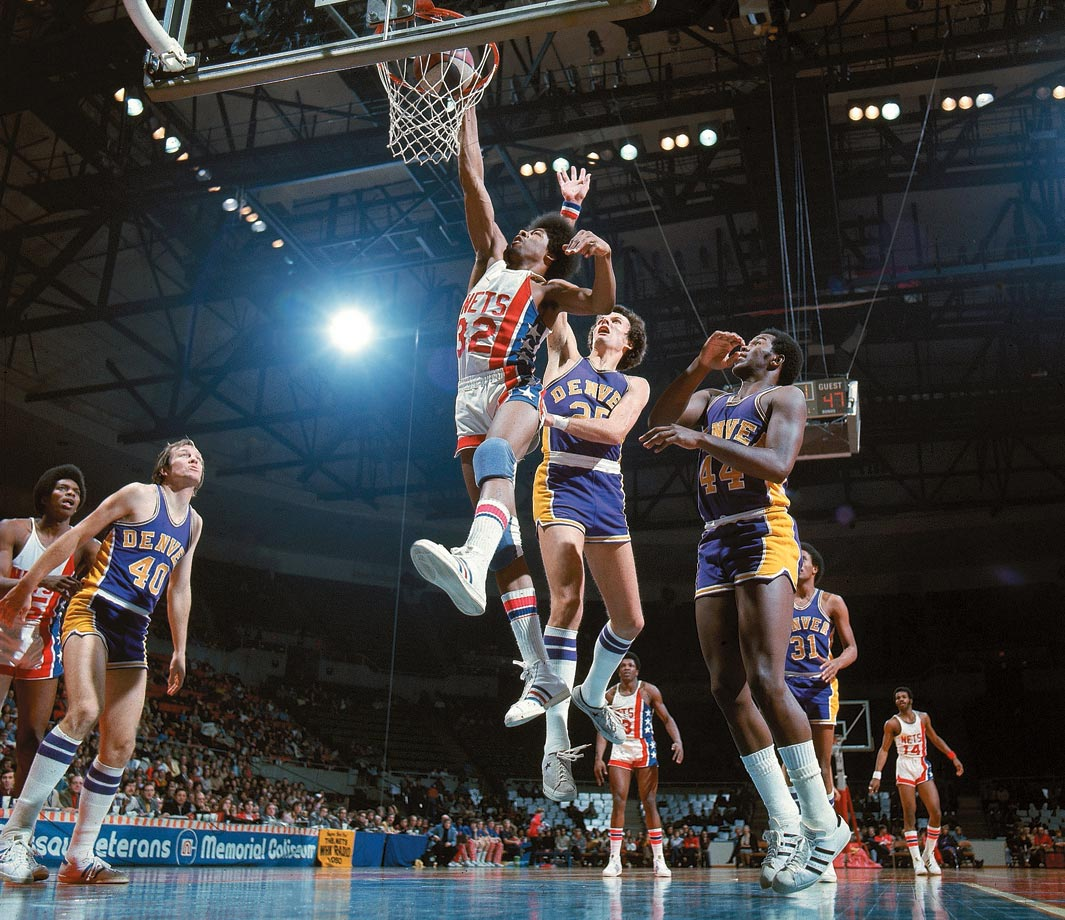 Dr. J helped legitimize the ABA, which merged with the NBA in 1976. He was the ABA's MVP three consecutive years, beginning in 1974, and won two league titles.