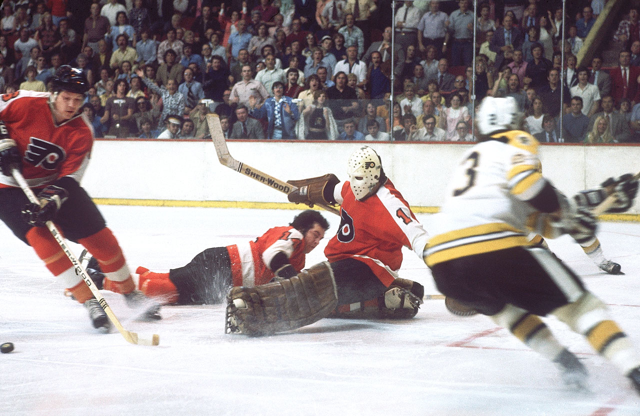 The Flyers, led by Bernie Parent's play in goal, won the first of consecutive Stanley Cup Championships in 1974 against the Boston Bruins. Parent was named the winner of the Conn Smythe Trophy as playoff MVP.