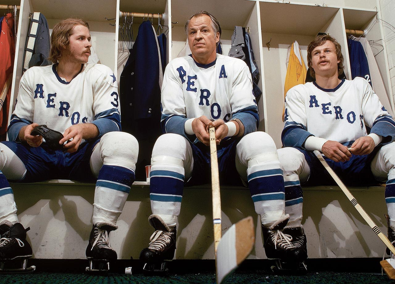 In addition to bringing Gordie Howe out of retirement, the Aeros signed both of his sons. Mark Howe (right) was the WHA's Rookie of the Year in 1973-74 while Marty (left) scored 90 points.