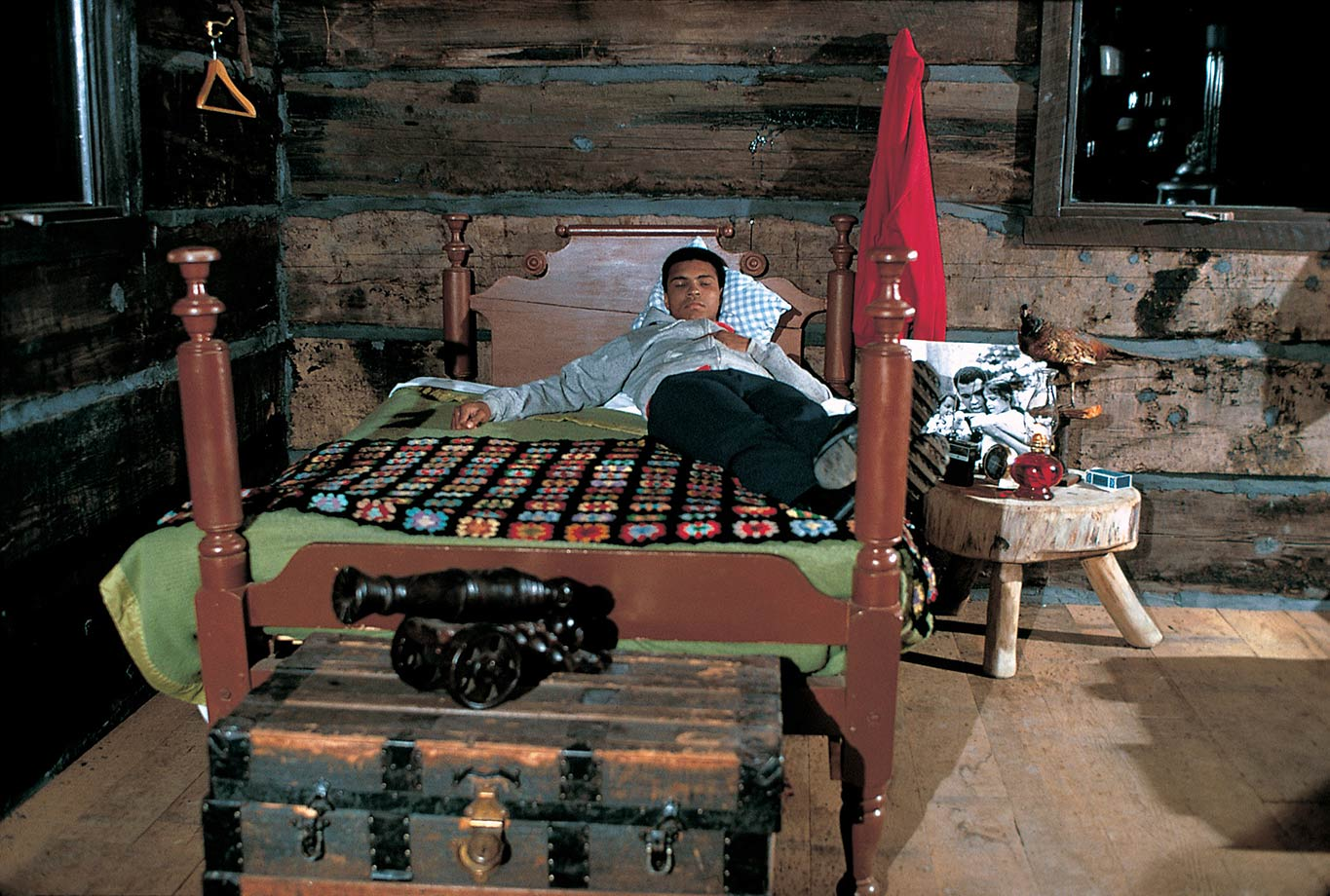 Ali lies on his bed at his cabin during the January 1974 photo shoot.