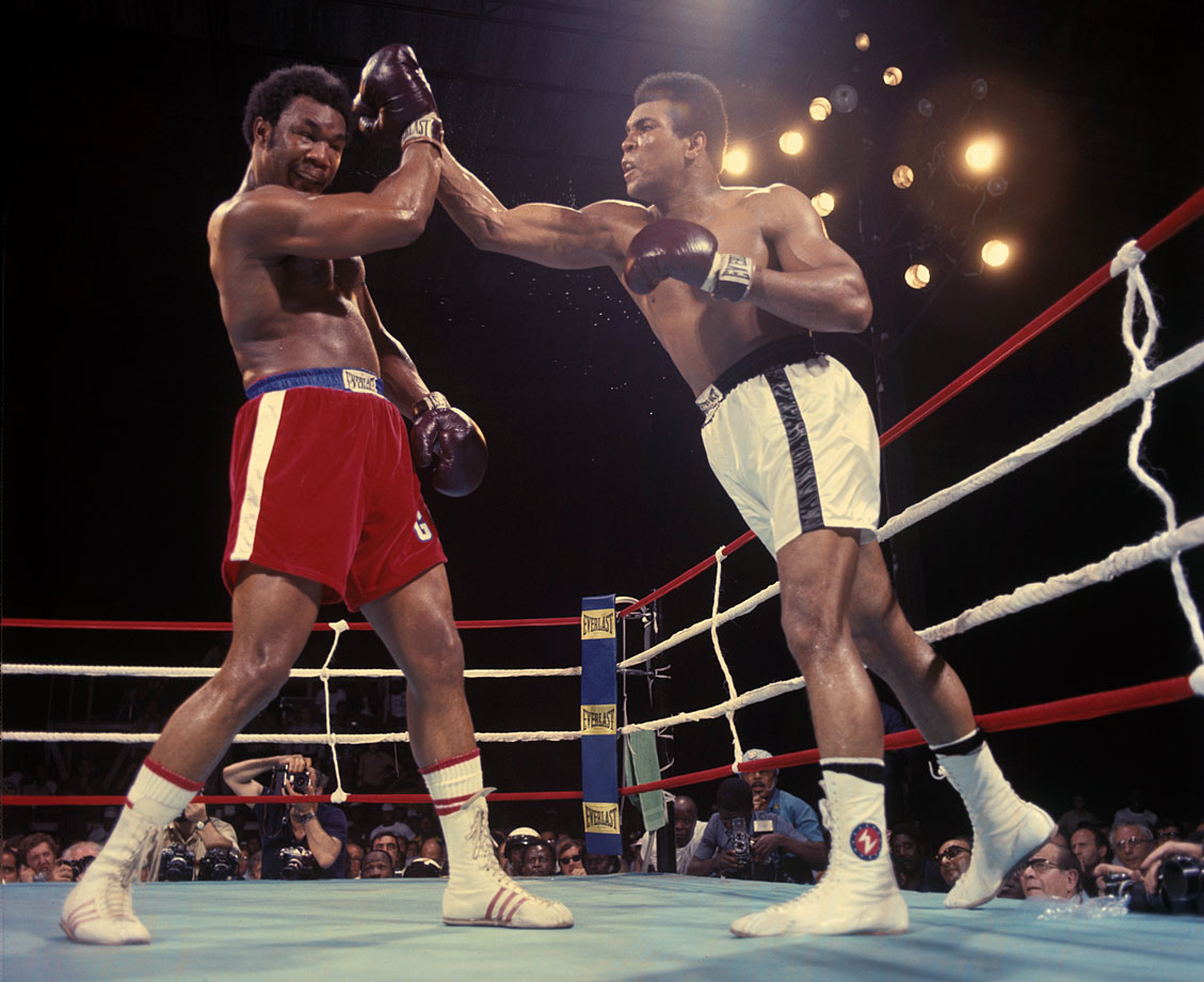 While George Foreman was known for his power, Muhammad Ali was known for his speed -- an asset he took advantage of with repeated right-hand leads in the opening round.